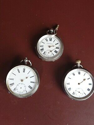 3 Antique 19th Century Silver Pocket Watches, Spares And Repairs Job Lot
