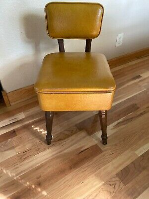 Vintage  RETRO Sewing Chair with Back and storage
