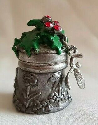 Warwick Stephen Frost Pewter Thimble With Hand Painted Holly & Mistletoe