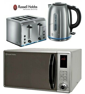 Russell Hobbs Buckingham Silver Kettle and 4-Slot Toaster with Microwave - New