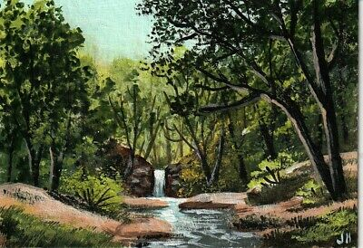 "aceo original acrylic painting ""Quiet, Peaceful Retreat"" by J. Hutson"