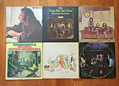 Lot of 6 Crosby Stills Nash Young LPs Debut, Deja Vu, So Far, 4-Way St, Stills 2