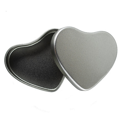 50ml Large Silver Heart Shaped Tin - Candle Making Sweets Mints Wedding Favour