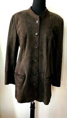 CHANEL Brown Suede Leather Jacket ~ Size Large  French 44/46