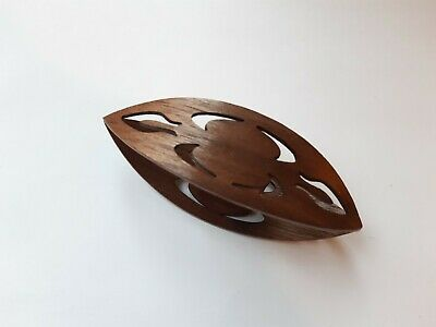 Very Large Wooden Tatting Shuttle Hand Made in Walnut With Cut Outs