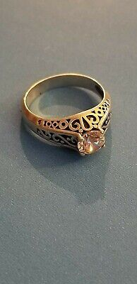 Sterling Silver Filigree Antique Style Ring with Cubic Zirconia Size 9