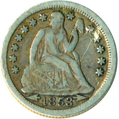 United States 1853 Arrows Liberty Seated Silver Dime     #Wt1328