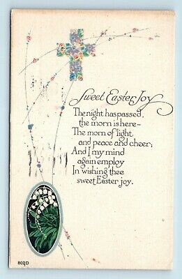 c1920s ART DECO ARTS & CRAFTS STYLE EASTER POSTCARD - COLORFUL RELIGIOUS