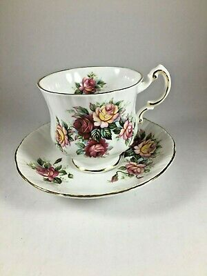"""PARAGON England~ FLOWER FESTIVAL """"E"""" Pink Red Yellow Floral CUP & SAUCER 1950s"""