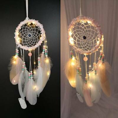 Handmade Dream Catcher Pink Beads Feathers Car Home Hanging Decor Ornament Gift