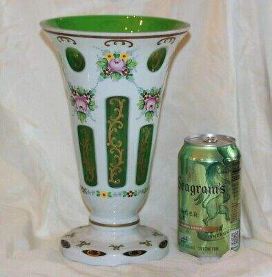 Czech Bohemian Large Green Cased to White Glass Large Flared Rime VASE LOT 4354