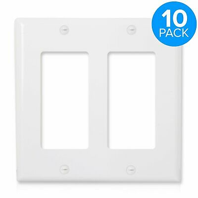 Wall Plate Outlet Cover for Decora 2 Gang Rocker Switch White 10 Pack