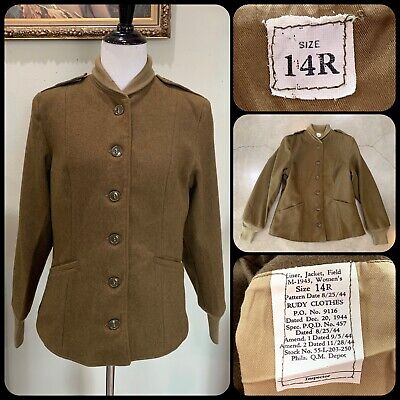 MINTY M-1943 FIELD JACKET LINER WWII Women's Wool WAC US Army Deadstock 40s VTG