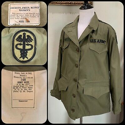 MINTY M-1943 FIELD JACKET WWII Women's Fatigues WAC US Army Medic Patch 40s VTG