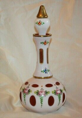 Czech Bohemian Cranberry Cased to White Glass LARGE DECANTER & Stopper LOT 4361