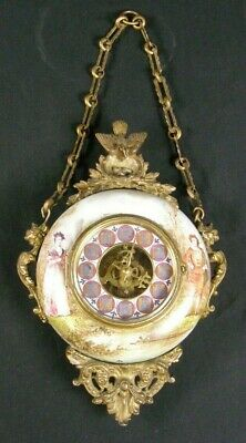 Antique Victorian French Eugene Farcot Imari Hanging Wall Clock  Porcelain