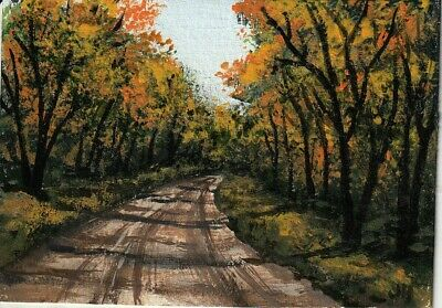 "aceo original acrylic painting ""Autumn Dirt Road"" by J. Hutson"
