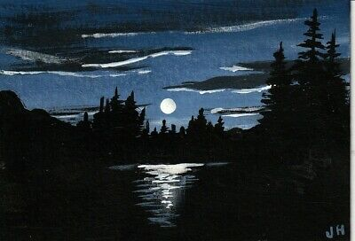 "aceo original acrylic painting ""Silvery Moon"" by J. Hutson"