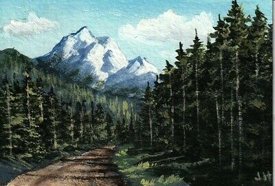 "aceo original acrylic painting  ""Mountain Road"" by J. Hutson"