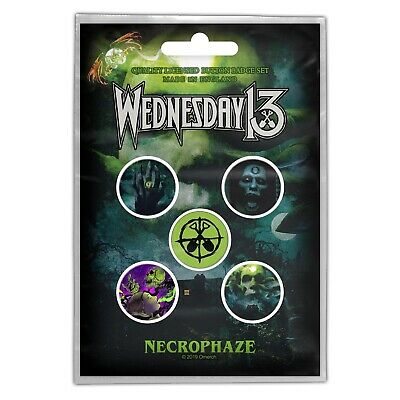 Wednesday 13 Necrophaze Badge Pack Official Horror Punk Metal Button Badges Set