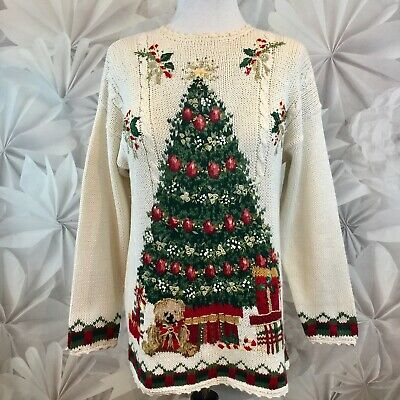 Ugly Christmas Sweater Women's Embroidered Tree Beaded Ivory Knit Sz L Euc