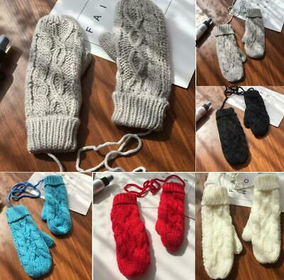 Winter Warm Ladies Mittens Knitted Gloves Girls Gift Thick Comfy Soft Gloves New