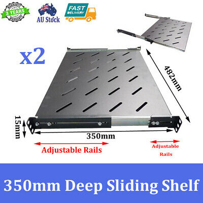2x Brand New 350mm Deep Sliding Shelf For 600mm Deep 19 inch Server Cabinet