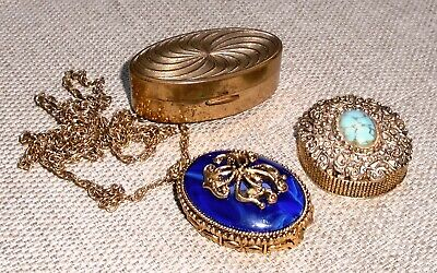 Vintage 3 Perfume Compact and Lipstick Holder Lot All MAX FACTOR Signed 404f