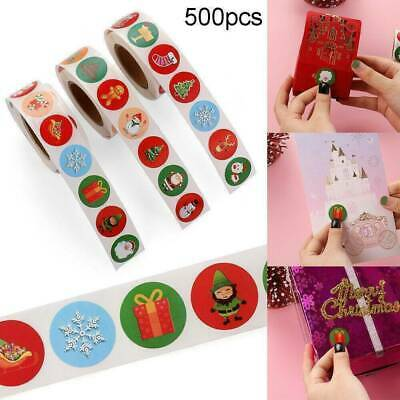 500x Merry Christmas Stickers Labels Decorating Present Seals 25mm Xmas Envelope