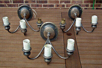 Three Matching Sconces Heavy Triple Wall Light Lamps Vintage Antique Silver