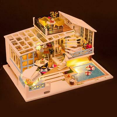 DIY Wooden Flower House Miniature Dollhouse 3D LED Music Mini Dollhouse Kit