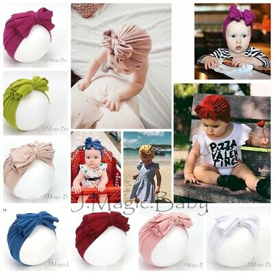 Baby Girl Messy Ruffle Turban Bow Soft Stretchy Hat Beanie Infant Cotton