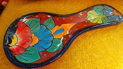 Authentic Handmade Mexican Talavera Spoonrest Spoon Rest - Brown