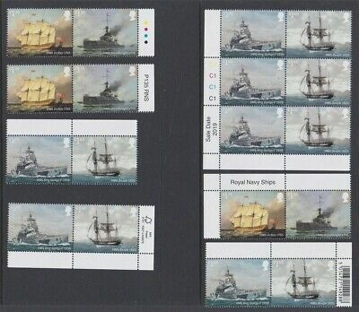 GB EII 2019 MINT Royal Navy ships set various sheet positions with selvedge MNH