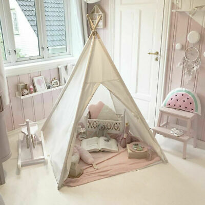 White Kids Teepee Child Garden or Indoor Toy Canvas Wigwam Childrens Play Tent
