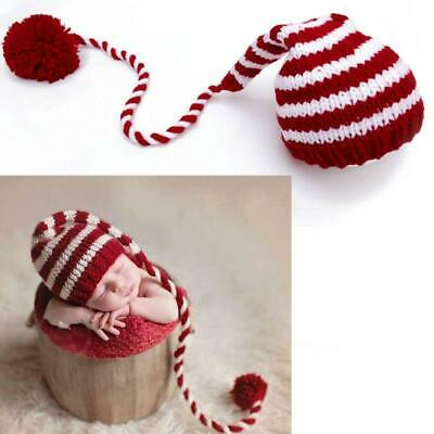 Baby Knitting Long Tails Christmas Hat Props Stripe Crochet Hat Photography Prop