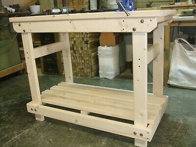 New  uk hand made 4ft solid heavy duty, wooden work bench table/desk fsc timber
