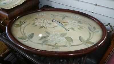 Pretty Embroidered Bird Edwardian Inlaid Tray, Serving Tray, Butler Tray