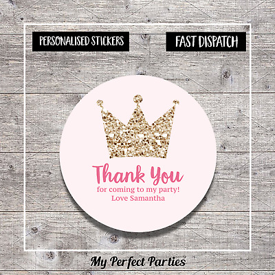 35 Personalised Little Princess Birthday Party Stickers Thank You Seals Design 3
