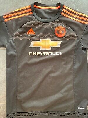 Mens Manchester United 3rd Kit 2015/16 Black And Orange Size Large Used Conditio