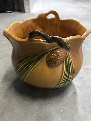 Roseville Pottery Pinecone Jardiniere 458-5 Pine Cone Tan Brown