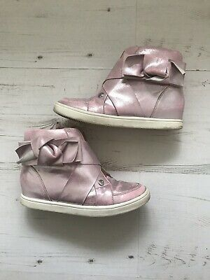 Girls Pink Glitter River Island Wedge Trainers Size 2