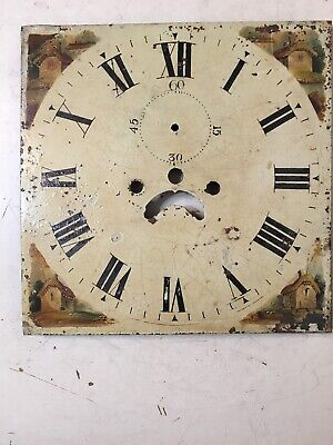 Antique Grandfather Clock Dial Hand Painted Cabin Decoration 1800's