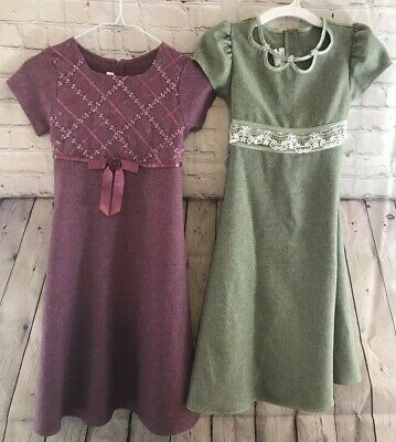 Bonnie Jean Girls Youth 8 Two Dress Lot Modest Purple Green Ribbon Long Pretty