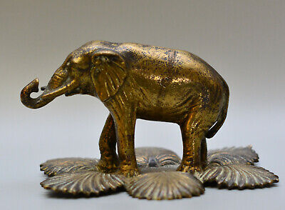 FRENCH Ormalu Gilded Bronze / Brass C19th ELEPHANT on Palm Leaves FIGURINE