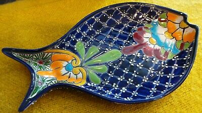 Authentic Handmade Mexican Talavera Fish Serving Platter Bowl - Blue