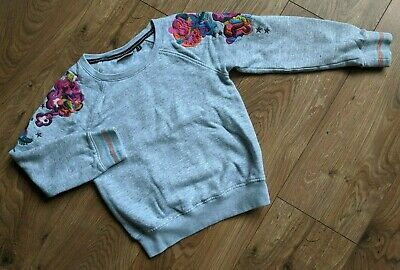 Next 9 yrs Grey Marl Multicoloured Floral Embroidered Crew Neck Sweater Jumper