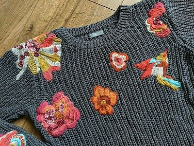 Next 9 yrs Grey Thick Knitted Floral Bird Sequin Embroidered Crew Neck Jumper