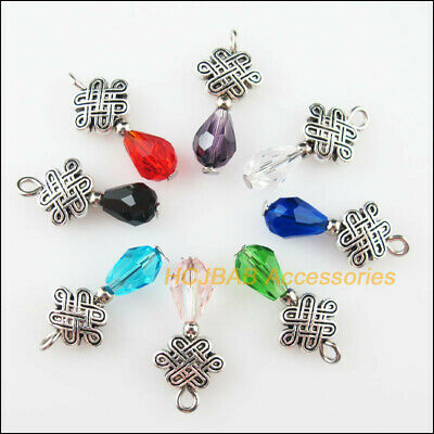 8 New Chinese Knot Charms Tibetan Silver Tone Mixed Crystal Pendants 10x20mm