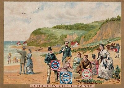 LUNCHEON ON THE SANDS, SEASIDE : HUNTLEY & PALMER BISCUITS ADVERT CARD (c1900)